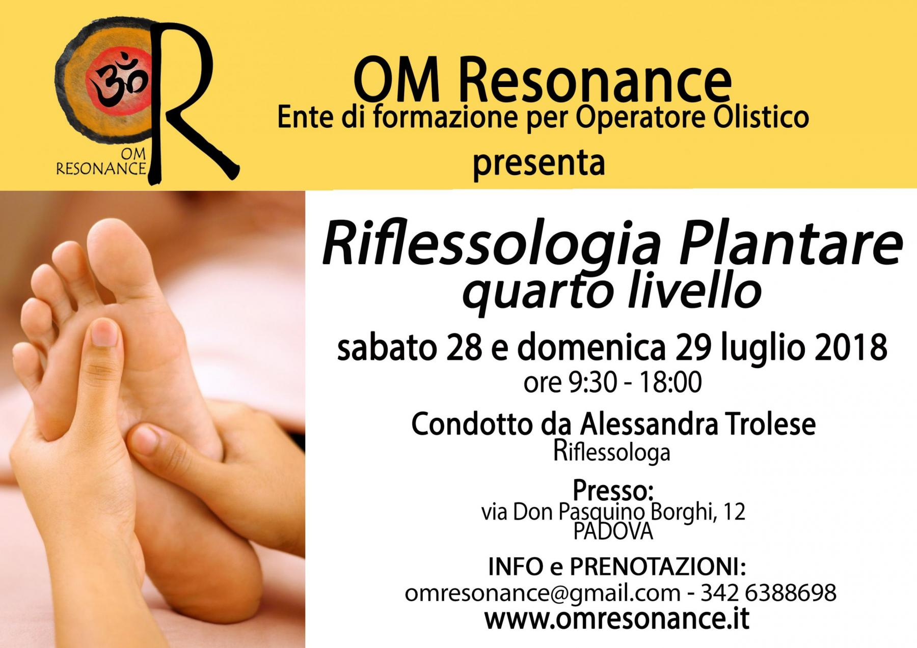 Riflessologia Plantare 4 livello Padova OM Resonance